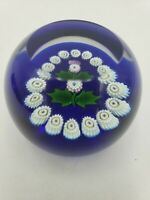 Signed Caithness Art Glass Scotland Faceted Paperweight Miniature Thistle Flower