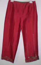 Next Silk Pink Embroidery Cropped Capri Hippie Boho Funky Trouser Size S