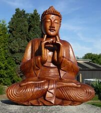 Super schöner 40 cm Doppelhand BUDDHA Meditation HOLZ BUDDA Feng Shui BMDH40