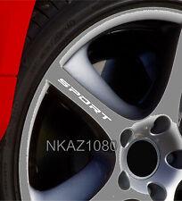 SPORT Decal Sticker Wheels Rims Racing Sport car Sticker Emblem logo WHITE 4pcs