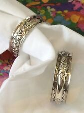 Napkin Rings Pair English Sterling Silver 1905 Vintage