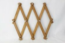 Vintage Expandable Wooden 10 Peg Wall Hanger Coat Hat Rack Accordian Japan