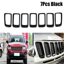 For Jeep Compass 2011-2015 2016 ABS Front Grille Vent Hole Trim Frame 7pcs Black