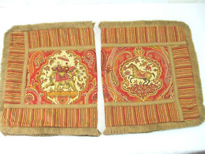 2 Vintage Cotton King Pillow Shams Elephant Horse Stallion Asian Rust Red Brown
