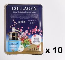 10pcs Korea Beauty Cosmetic [Malie] COLLAGEN Face Mask Pack Sheet 0.88oz 25g