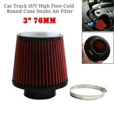"Universal 3"" 76mm Car Truck Red High Flow Cold Round Cone Intake Air Filter Kit"