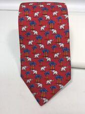 Holland & Sherry Red Silk Necktie White Elephant Palm Tree USA Seville Row