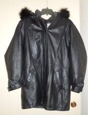EUC Marshall Field Gear Genuine Leather Insulated Parka Fox Fur Trim Zip Hood M