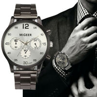 Retro Men's Stainless Steel Watches Casual Military Quartz Analog Wrist Watch AU