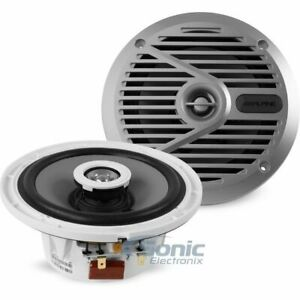 "2) Alpine SPS-M601 110W 6.5"" 2-Way Type-S Marine Boat Coaxial Speakers - Silver"