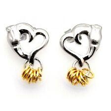 Wish Rings Sterling Silver Post Heart Earrings