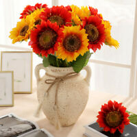 1 Heads Sunflower Artificial Flowers Silk Fake Wedding Home Desk Party Decora EN