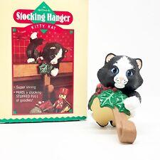 Vintage Hallmark Kitty Kat Christmas Stocking Hanger Holder Black Kitten Cat '86
