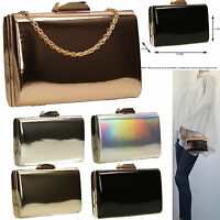 Womens Box Clutch Metallic Leather Rose Gold Silver Ladies Party Prom Smart Bag