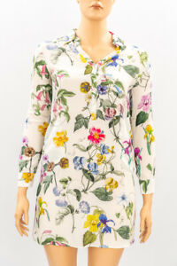 ZARA Woman White Floral Shirt Dress Size M Medium