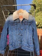 Ladies Levis Strauss Denim Sherpa Trucker Denim Jacket Small 8