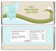 Elephant Baby Blue - Personalized Baby Shower Candy Bar Wrappers - Candy Favor
