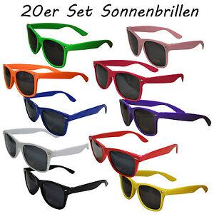 20 Stück Set Sonnenbrillen BUNT black schwarz 80er Nerd Style Brille Retro UV400
