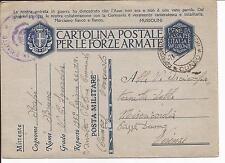 1940 CARTOLINA POSTALE PER LE FORZE ARMATE IN FRANCHIGIA MILITARE DA CUNEO A FI