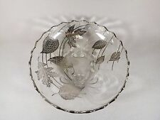 VINTAGE CONSOLE BOWL SILVER CITY FOREST LEAF/LEAVES SILVER OVERLAY FOOTED
