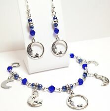 CRESCENT MOON Set_Dark Blue Crystal Glass Bracelet + Earrings_Handcrafted_23H