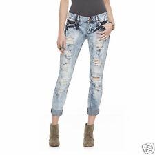 Bongo Junior's Deconstructed Jeans-Dark Acid Wash Ankle Bitter Jeans Size 5 NEW