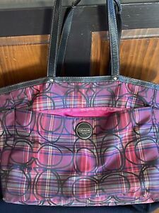 Coach XL Tote Diaper Bag Tartan Black/Purple/Pink