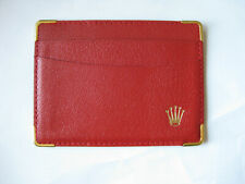 NEW MENS LADIES ROLEX RED LEATHER ID BUSINESS CARD CREDIT CARD HOLDER WALLET