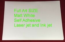 10 SHEETS A4 Matt Printable White Self Adhesive Sticker Paper Ink and Laser Jet