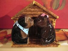 BLACK BEARS WITH LOG CABIN NAPKIN HOLDER   ~~ SALT & PEPPER SHAKERS