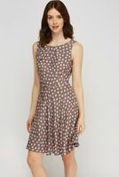 dotted printed tie up skater sleeveless dress size 14 grey pink