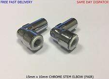 15mm x 10mm Pushfit Radiator Valve Chrome Reducing Elbow PAIR *QUALITY*GENUINE*