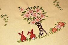 EASTER BUNNY TAILS UNDER THE CHERRY BLOSSOM TREE! VTG GERMAN SPRING TABLE RUNNER
