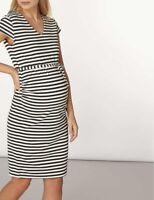 Mamalicious Maternity Black Cap Sleeve Stripe Jersey Dress Size M DH093 BB 04