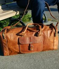 Men's New Real Leather Vintage Tote Luggage Travel Bag Duffel Gym Overnight Bag