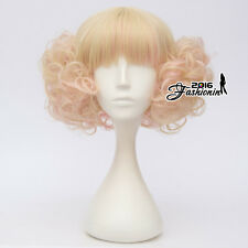 Lolita Retro Short Light Blonde Mixed Pink Curly Fluffy Halloween Cosplay Wig