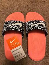 NWT Girls Nike Kawa Print Slide Sandal -Black/White Lava Glow