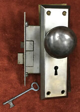 Antique Mortise Lock Set with Key, Steel Plates and Knobs