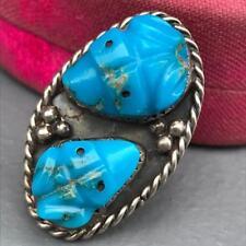Large Vtg silver Turquoise Carved Frog Fetish  Zuni Ring