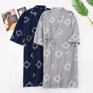 Uomo Cotone Accappatoio Giapponese Kimono Notte Vestaglia Biancheria da Unisex