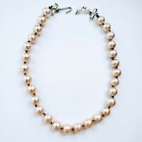 Vintage Japan Faux Pearl Collar Necklace Crystal Hook Eye