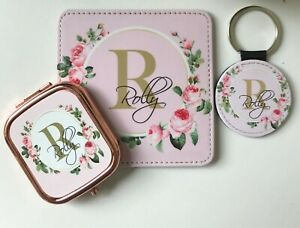 Personalised Letterbox gift for her, Luxury Pink Gift, Mirror,Coaster & Key ring