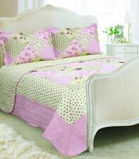 Vintage Country Cottage Style Floral Patchwork Quilted Bedspread 230x240cm and 2 Oregon