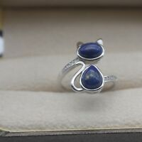 New Design 925 Sterling Silver with Lapis Lazuli Cat Shape Ring Size: 5-9