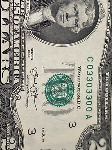 2013 TWO  DOLLAR INK ERROR BINARY NOTE 03303300 !Beautiful!UNC!SUPERTop Rare!