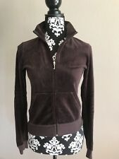 Juicy Couture Tracksuit Jacket Velour Brown Sz Small Front Zip JACKET ONLY