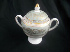 Wedgwood COLUMBIA. Green and Gold. Covered Sugar. Loop handles.