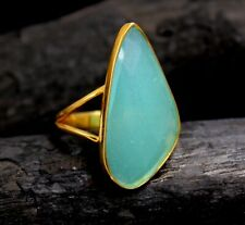 Solid 925 Sterling Silver Jewelry Chalcedony Gold Plated Party Wear Ring