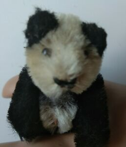 "VINTAGE MINIATURE SCHUCO 1950's  FULLY JOINTED TEDDY  PANDA BEAR  3"" LONG. RARE."