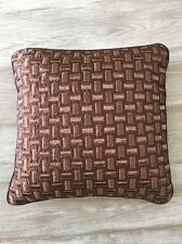 Candice Olson Bedding Geometric Metallic Chocolate Brown Square Throw Pillow